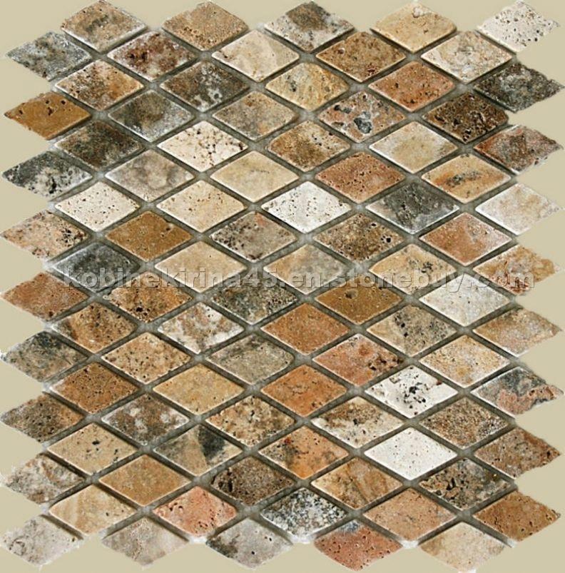 Mosaic travertine tile backsplash